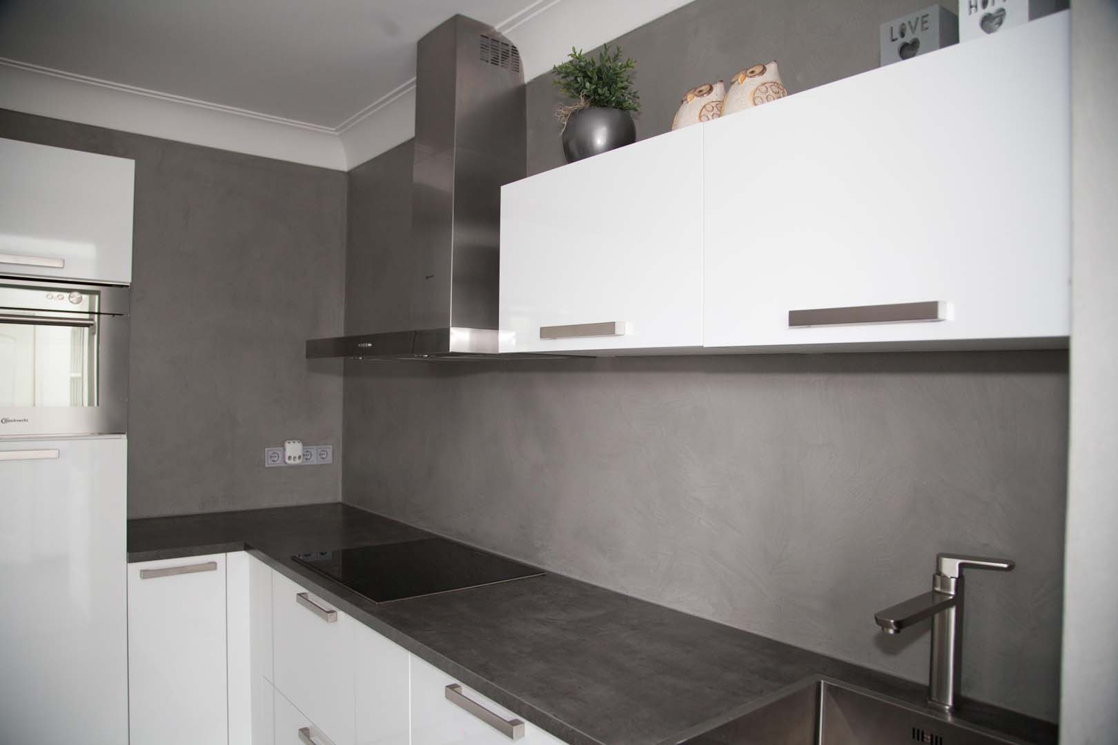 Van der looy achterwand keuken in betonlook - Keuken uitgerust m ...