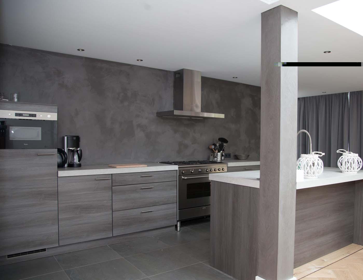Van der looy betonlook achterwand - Keuken uitgerust m ...
